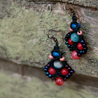 Macrame beaded earrings in blue and pink
