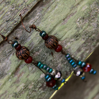 Wired beaded earrings blue red