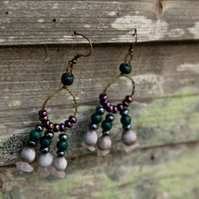 Wired beaded earrings with seeds