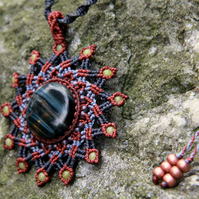 Snowflake mandala necklace with blue tiger eye