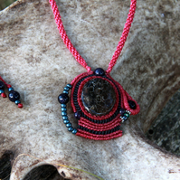 Macrame necklace with fossil