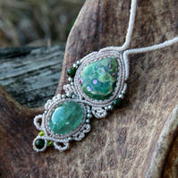 Ruby in fuchsite and aquamarine boho necklace