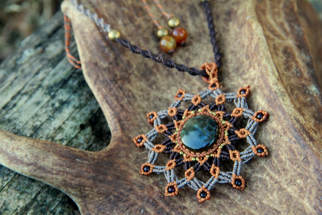Autumn mandala with rainbow labradorite