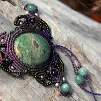 Ruby in fuchsite purple necklace