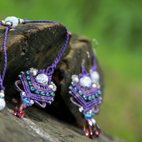 Jewellery beaded set necklace and earrings purple