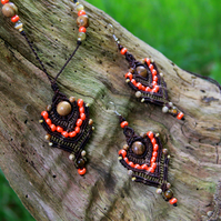 Jewellery beaded set necklace and earrings brown and orange
