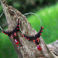 Macrame hoop boho earrings brown red