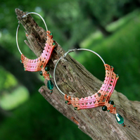 Macrame hoop boho earrings pastel colours