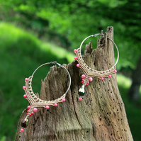 Macrame hoop boho earrings cream pink