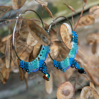 Macrame hoop boho earrings blue