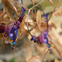 Macrame hoop boho earrings purple