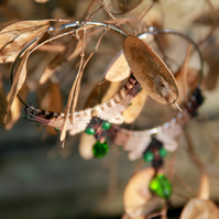 Macrame hoop boho earrings brown green
