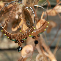 Macrame hoop boho earrings light brown green