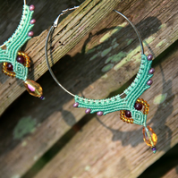 Macrame hoop boho earrings light blue yellow
