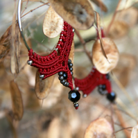 Macrame hoop boho earrings red