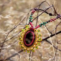 Colourfull mandala necklace with jasper