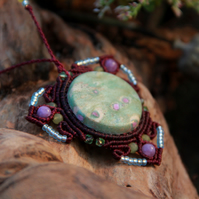 Ruby fuchsite mandala necklace