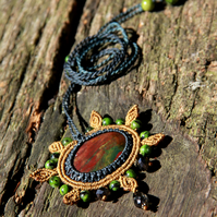 Flower mandala necklace with bloodstone