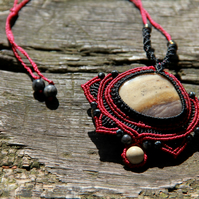 Macrame necklace with jasper