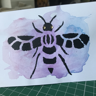 Handmade Watercolour Manchester Bee Card