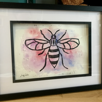 Manchester Bee Relief Print on Watercolour