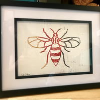 Multicoloured Ombre Manchester Bee Relief Print
