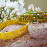 LEMON AND LIME  two fruity citrus lemon lime toned memory wire stacking bangles