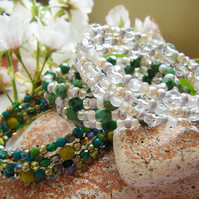 LAKESIDE  three green, white, and crystal toned memory wire stacking bangles