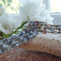 MISTY MORNING  two crystal grey toned memory wire stacking bangles
