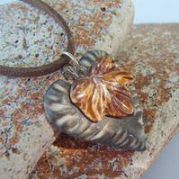 "EARTHY LEAF & HEART pendant 16"" brown faux suede silver necklace"