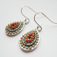 ZOLA CLAY OLIVE TEARDROP antiqued silver earrings