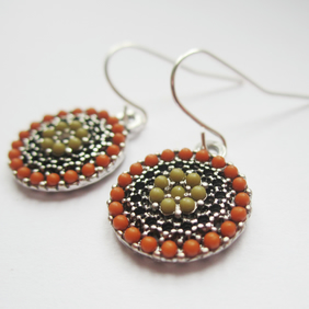 ZOLA FAIRY GARDEN OLIVE ORANGE COIN antiqued silver earrings