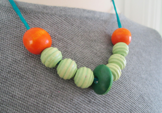 "GREEN & ORANGE  18"" chunky wooden bead  turquoise silk necklace"