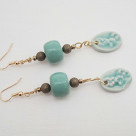 TURQUOISE GOLD ceramic long drop earrings