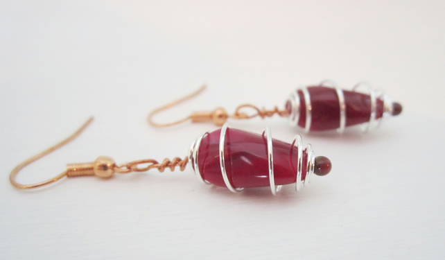 DEEP RED WIRE WRAPPED silver copper earrings