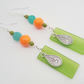 SPRING CALYPSO seaglass leaf dyed jade long drop earrings