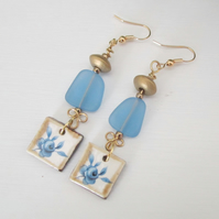 BLUE ROSES ceramic recycled seaglass long drop gold earrings
