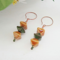 HARVEST FIELD ceramic drop copper earrings