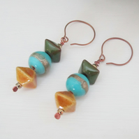 HARVEST SKIES ceramic drop copper earrings