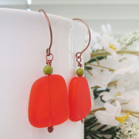 ORANGE TUMBLED SEA GLASS drop copper earrings
