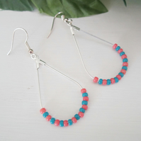 TURQUOISE CORAL TEARDROP silver chandelier earrings
