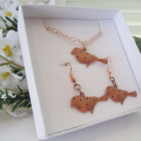 LITTLE COPPER BIRDS rose gold chain necklace and earring set