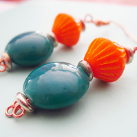 TEAL AND TANGERINE copper twist drop earrings