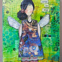 Time to Spread her Wings - Mixed media painting