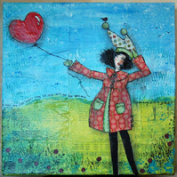 The Girl with the Red Balloon Mixed Media Painting