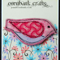 Felt and Fabric Bird Shaped Brooch