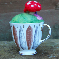 Vintage teacup Needle felted Pincushion