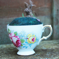 Needle felted Pincushion in Vintage teacup