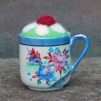 Tiny Vintage Cup with Needle felted Pincushion