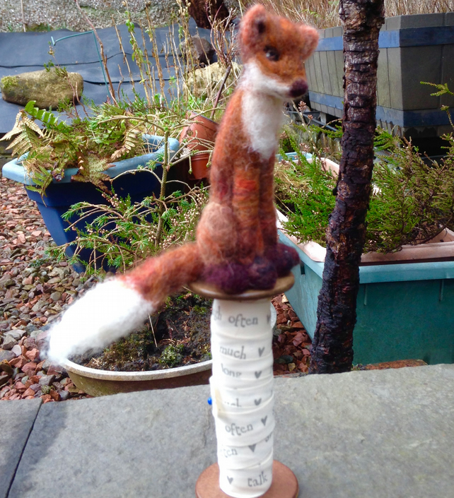 Needle Felted Fox on Vintage Cotton Spool
